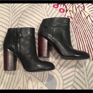 TORY Burch Fulton black booties with wood heel